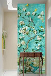 花鸟玄关壁画欧式油画