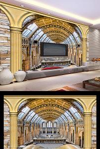 3d罗马柱天鹅湖电视背景墙图片图片
