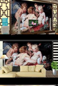 古典天使美女人物油画电视背景墙 高清图片