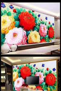 效果图 背景墙 花卉/牡丹花背景墙效果图模板花卉油画图... 已下载0 次