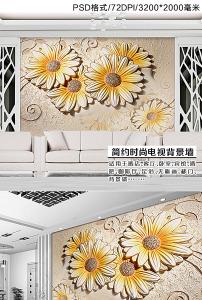 花草浮雕欧式背景墙模板下载(图片编号:11433049)