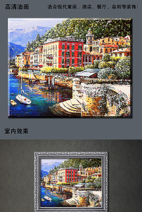 地中海风情海边油画壁画效果图(图片编号:12514353)
