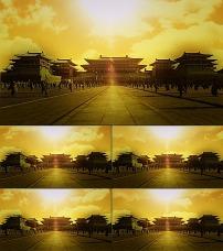 古代宫殿祥云飘特效合成视频图片
