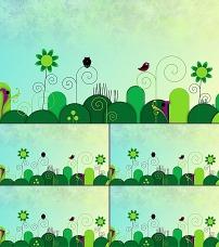 led绿色卡通背景素材图片