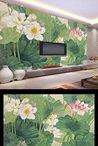 背景墙 电视/手绘荷花中式电视背景墙设计 已下载0 次
