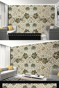 欧式复古手绘花纹电视背景墙壁画设计