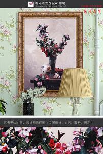 欧式花卉郁金香三联手绘油画装饰画图片