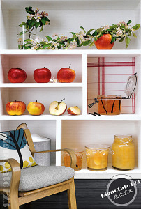 唯美清新白色格子画水果苹果罐头花卉玄关图片