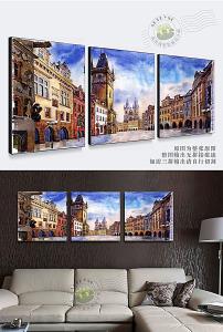 欧式复古城堡街景街道大本钟油画装图片