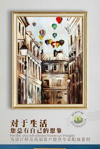 欧式复古抽象街道街景彩色热气球油图片