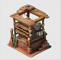q版三维可爱卡通场景药房建筑模型图片