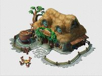 q版三维可爱卡通古代房子房屋草屋茅屋图片