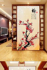 中式梅花玄关画背景墙图片