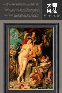 唯美复古裸体帅哥美女人体艺术油画图片