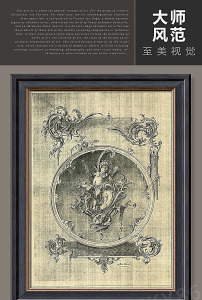 复古抽象镜中天使花纹艺术油画装饰图片
