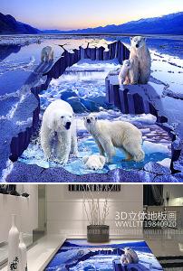 北极熊冰川冰山河流3d地画立体画