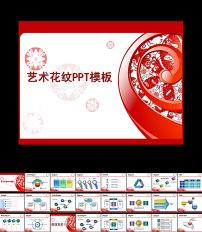 中国风花纹背景ppt模板7模板下载图片