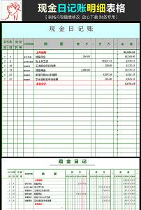 公司企业现金日记账明细表格excel模板