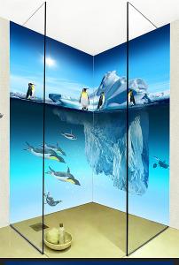 企鹅冰山海底世界3d立体浴室壁画