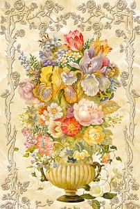欧式油画花卉花瓶玄关过道背景墙图片