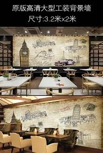 欧式怀旧复古伦敦塔大本钟城市街道壁画高清图片下载图片