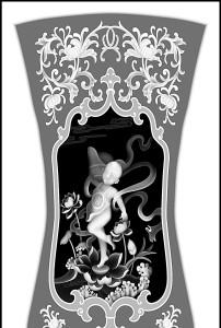 浮雕灰度图象头沙发背板散财童子