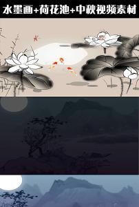 高清水墨画荷花池中秋视频素材下载图片