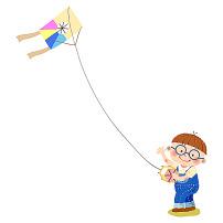 卡通可爱放风筝的小男孩图片