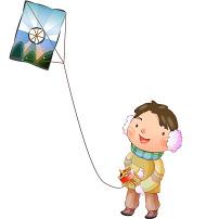 卡通可爱放风筝的小男孩
