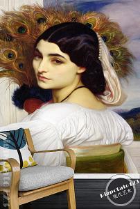 世界名画白裙长发齐腰美女背影古典人物油画图片