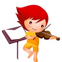 卡通微笑线稿女孩拉小提琴图片