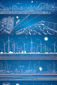 线描建筑城市旅行交通创意矢量图图片