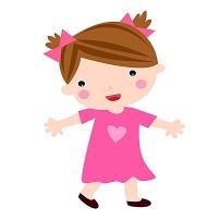 可爱卡通扎两个辫子的小女孩图片