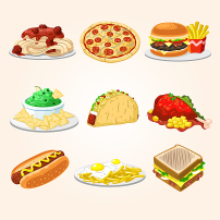 卡通矢量汉堡比萨三明治食物美食西餐素材图片