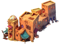 q版卡通沙漠戈壁阿拉丁建筑模型图片