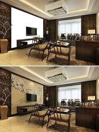 古典中式客厅电视背景墙场景效果图图片