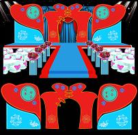 中式红蓝民国风格婚礼舞台背景设计图片