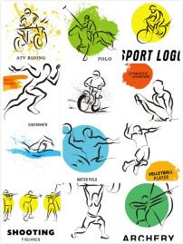 2016里约奥运体育项目简笔画图标