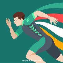 奥运会跑步冠军矢量背景(内含psd)图片