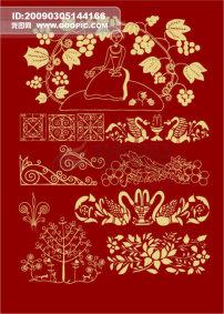 素材 花纹/植物插画植物底纹花朵人物插画